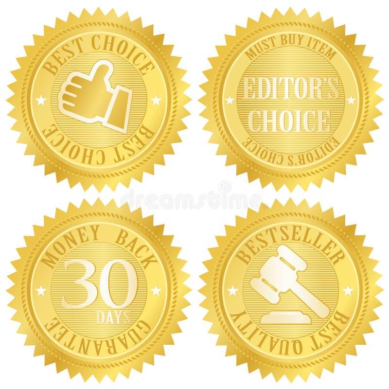 最佳的挑选金黄标签 向量例证