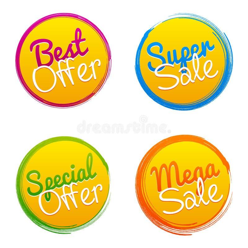 最佳的提议、超级销售、特价优待和兆销售传染媒介标记 库存例证
