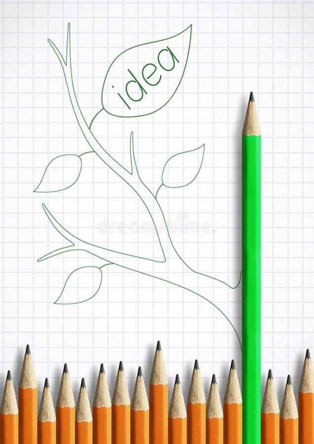 最佳的新的想法创造性概念,有叶子的铅笔作为词根 图库摄影
