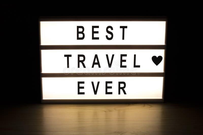 最佳的旅行灯箱标志板 免版税库存照片