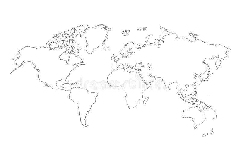 最佳的普遍的世界地图概述图表剪影样式、亚欧联盟的南北美国的背景传染媒介和非洲 皇族释放例证
