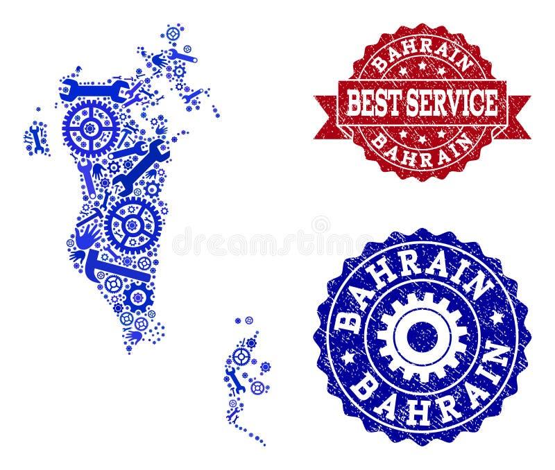 最佳的服务结构的巴林和困厄邮票地图  库存例证