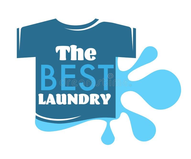 最佳的洗衣店T恤杉和水飞溅被隔绝的象 皇族释放例证