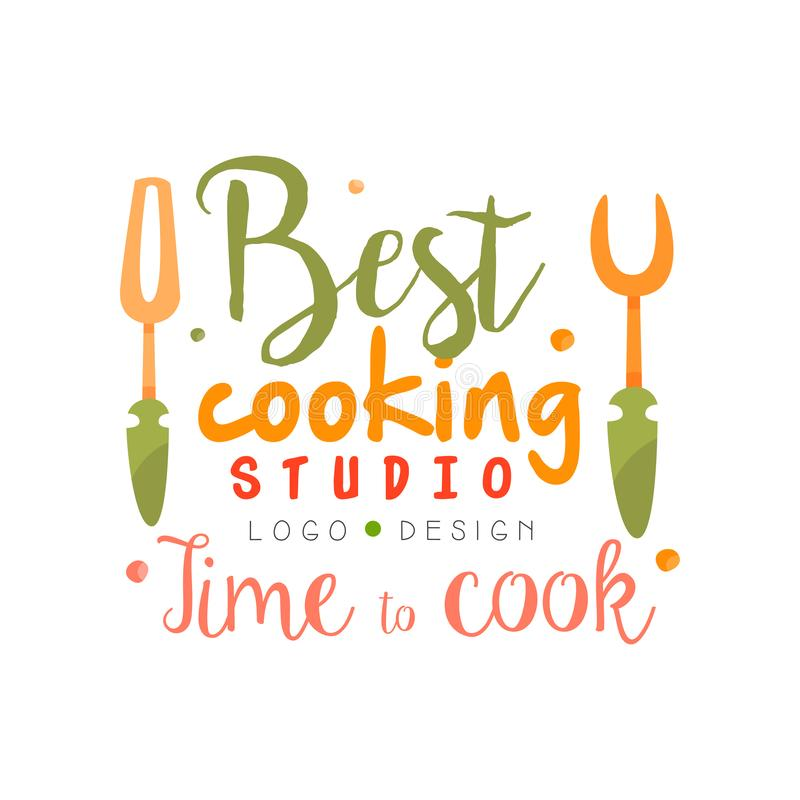 最佳的烹调演播室,时刻烹调商标设计,厨房象征可以为烹饪类,路线,手拉的学校使用 向量例证