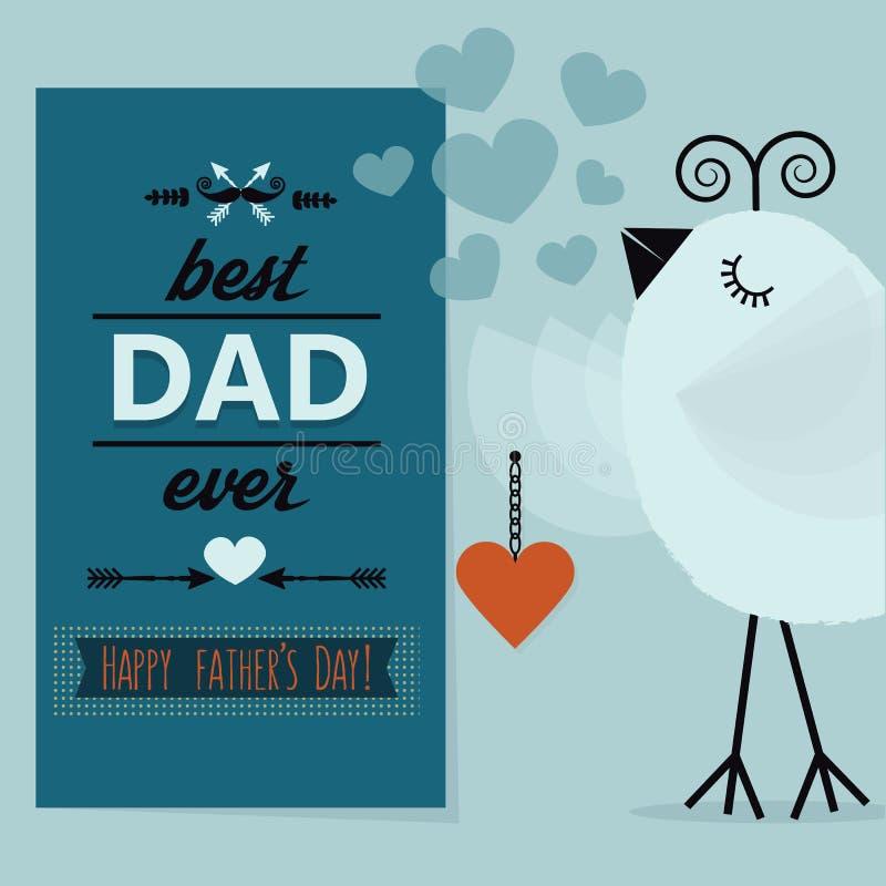 最佳的爸爸和愉快的父亲节蓝色卡片 库存例证