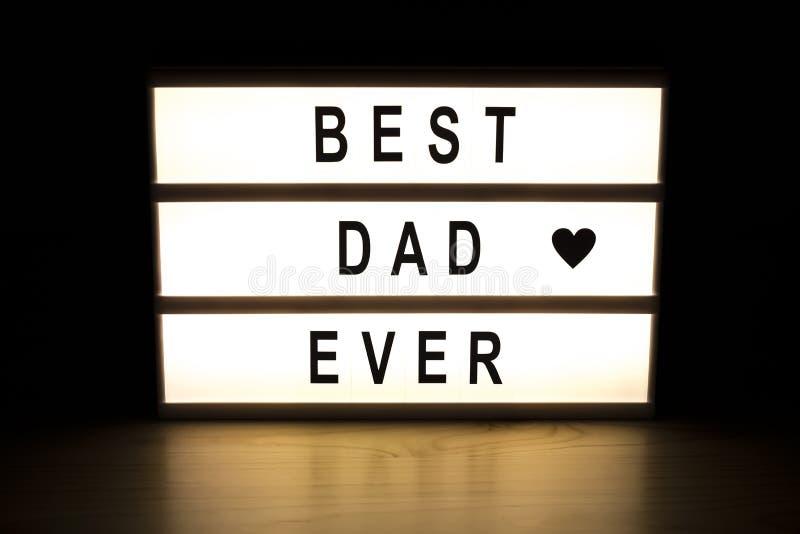最佳的爸爸灯箱标志板 免版税库存照片