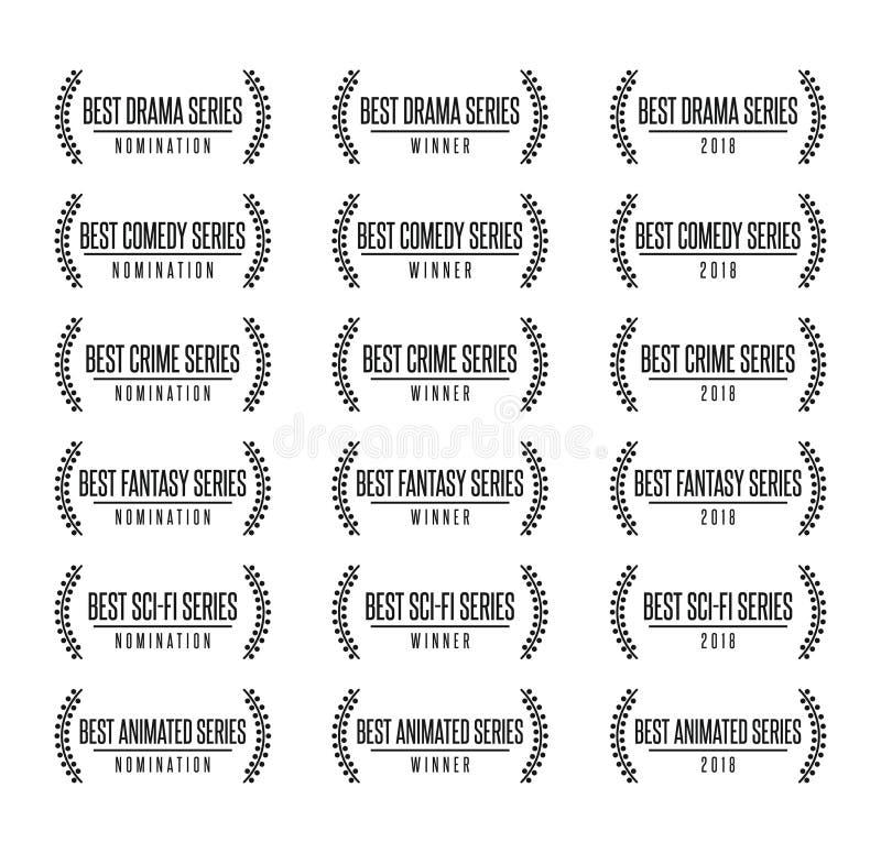 最佳的电视节目系列风格提名奖传染媒介例证 向量例证