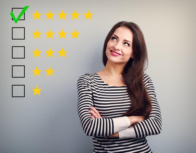 最佳的规定值,评估 企业确信的愉快的妇女voti 免版税库存图片