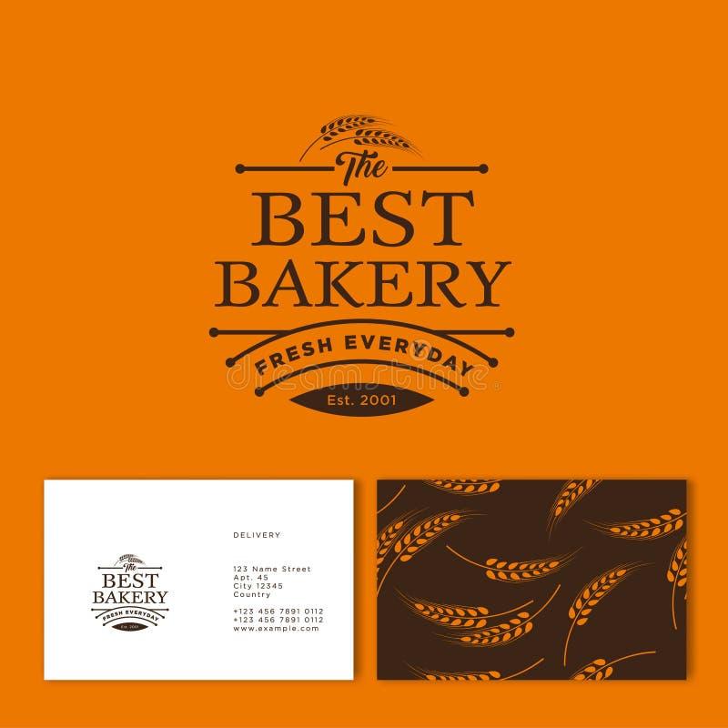 最佳的面包店商标 酥皮点心和面包店象征 美好的字法和小钉 库存例证
