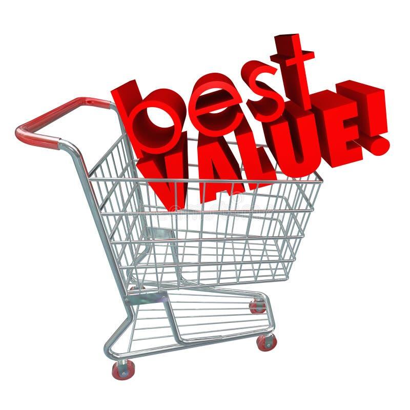 最佳的价值措辞购物车回顾销售折扣 向量例证