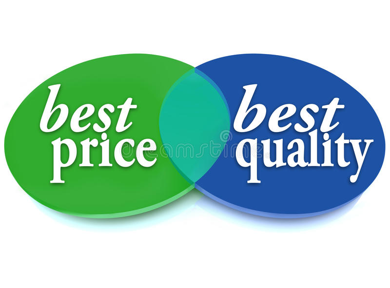 最佳的价格和质量Venn图比较理想的购买 向量例证