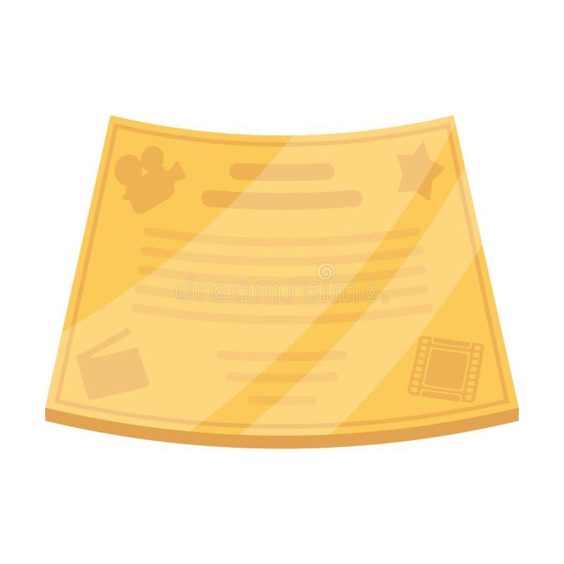 最佳的主要角色的古铜色证明在影片 电影在动画片样式传染媒介标志库存授予唯一象 皇族释放例证