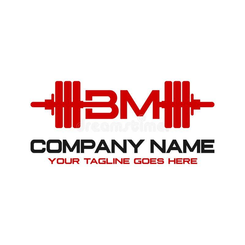最初的商标BM杠铃 向量例证