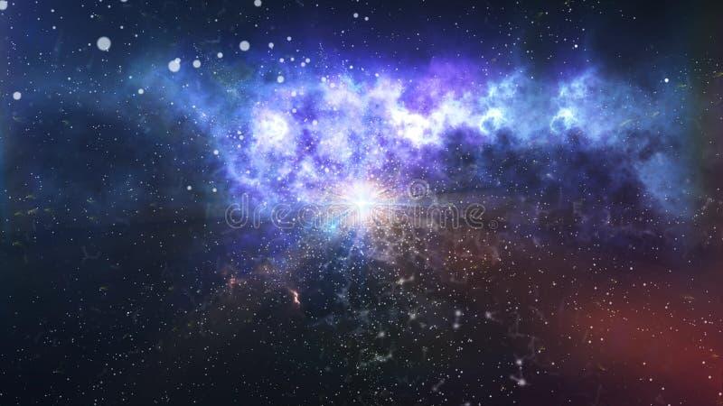 最初的神秘的物质爆炸大爆炸理论 库存例证