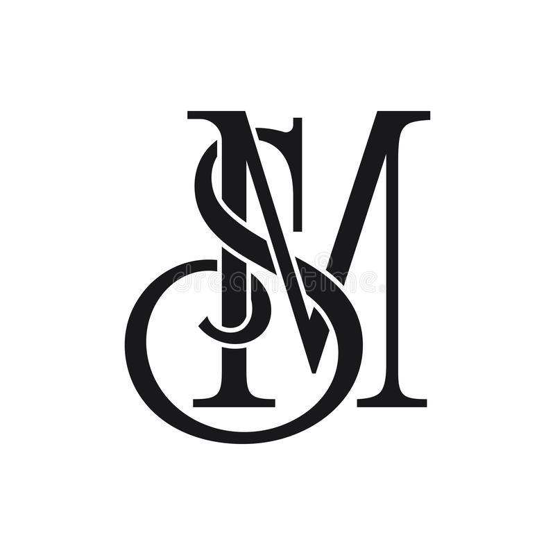 最初的SM信件商标想法设计传染媒介例证 皇族释放例证