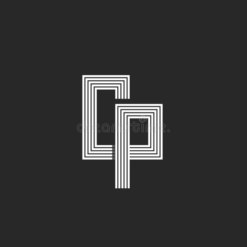 最初CP或个人计算机创造性的信件商标组合图案、组合两信件C和P,黑白线型 向量例证