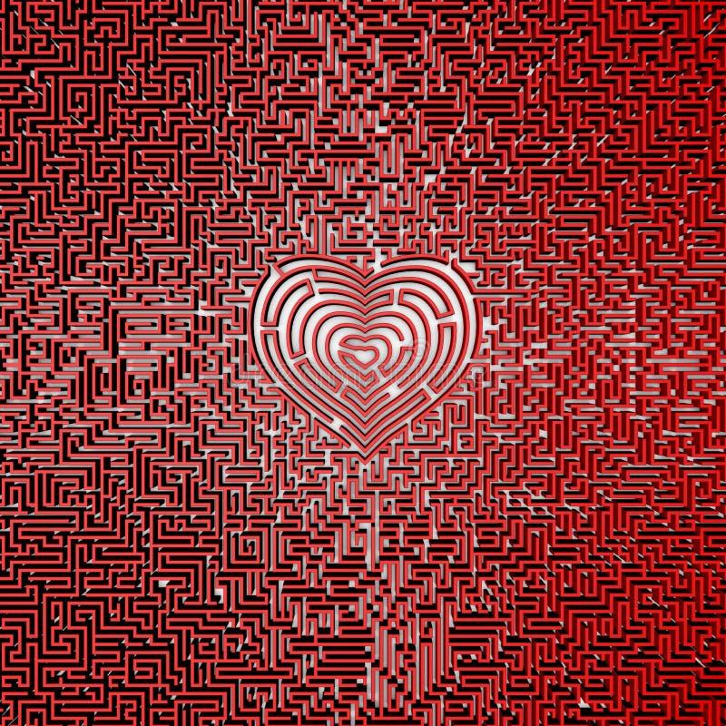 最后心脏迷宫 向量例证