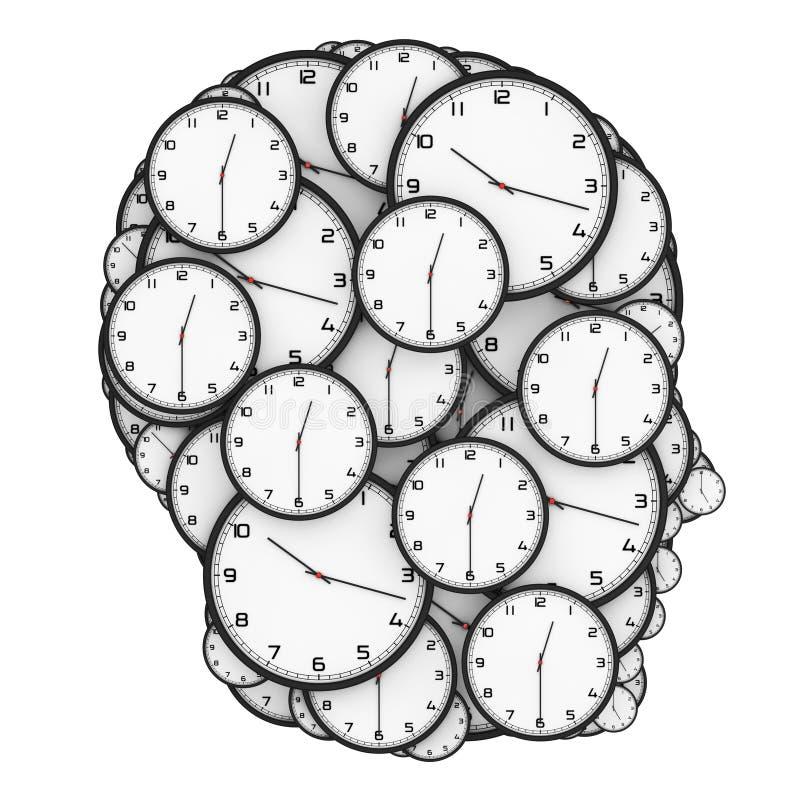最后期限压力概念 作为一个人头被塑造的现代时钟 库存例证