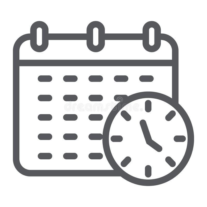 最后期限线象、组织者和计划、日历和时钟标志,向量图形,在白色背景的一个线性样式 向量例证