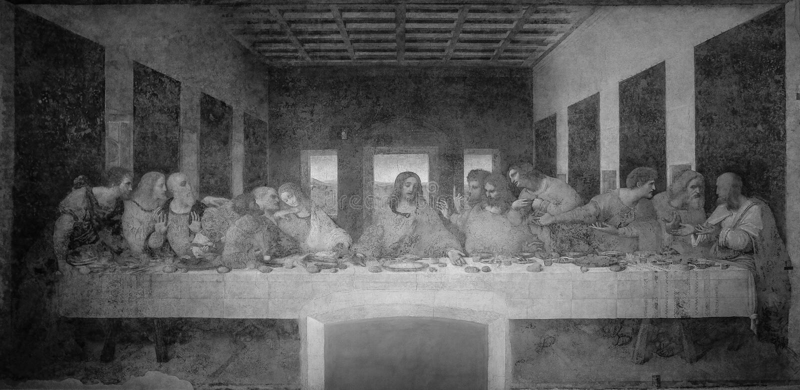 最后的晚餐列奥纳多・达・芬奇在圣玛丽亚delle Grazie,黑白的米兰女修道院的餐厅  库存照片
