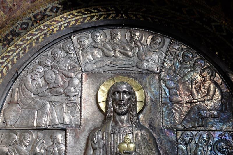 最后的晚餐,耶稣的耶稣圣心的法坛在圣布莱斯教会里在萨格勒布 库存图片