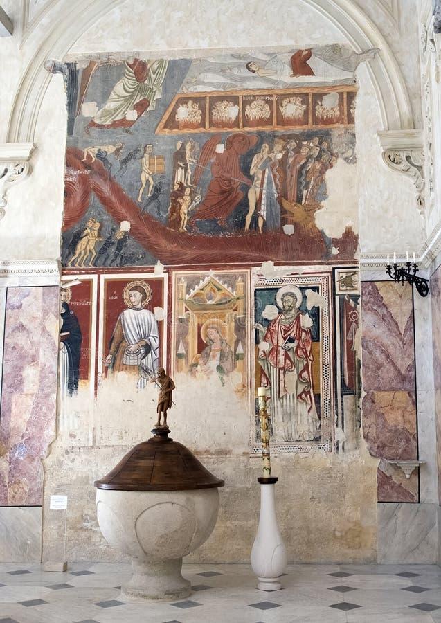 最后评断的Frescoe在马泰拉大教堂,意大利里 库存照片