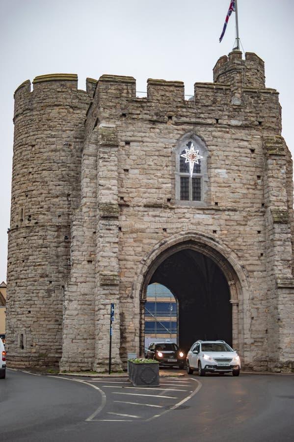 最后门在坎特伯雷英国镇  图库摄影