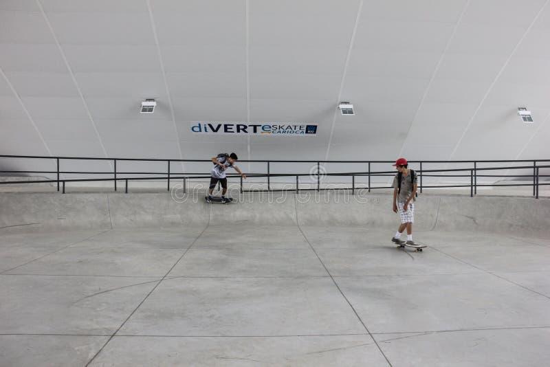 最大的冰鞋公园半管子公开轨道在世界上 免版税库存图片