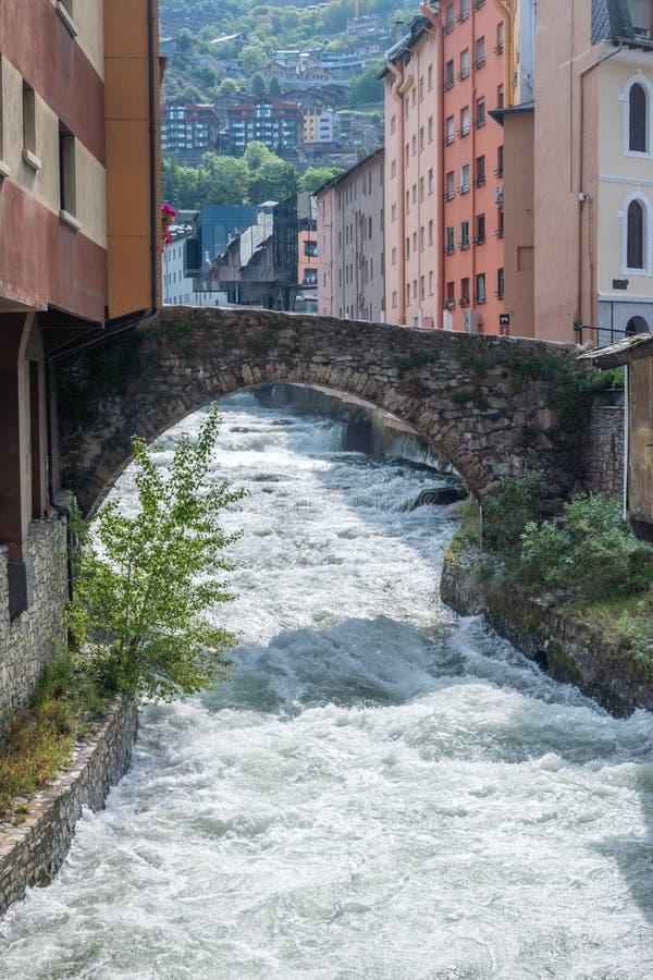 最大的河在安道尔Gran Valira 库存图片