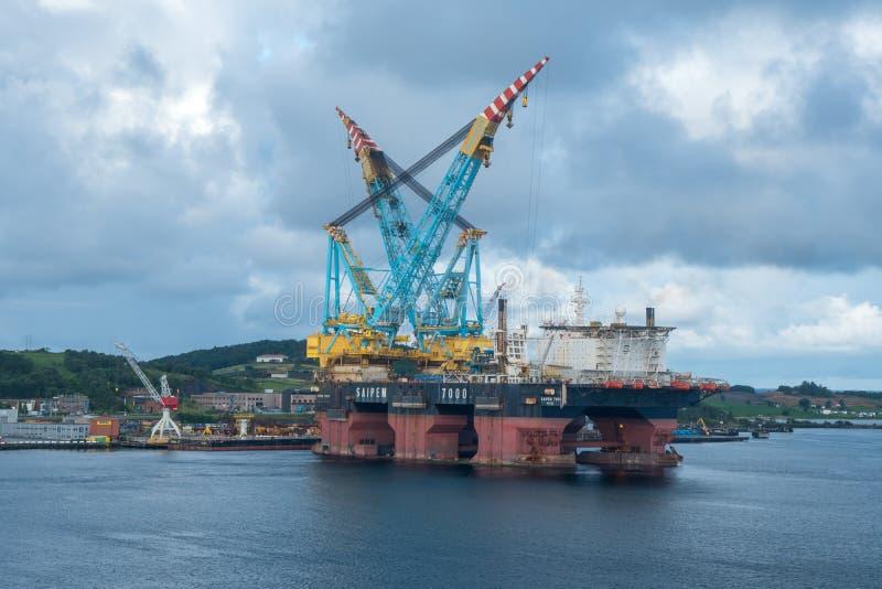 最大的近海平台在斯塔万格挪威 库存照片