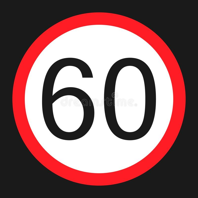 最大速度极限60标志平的象 库存例证