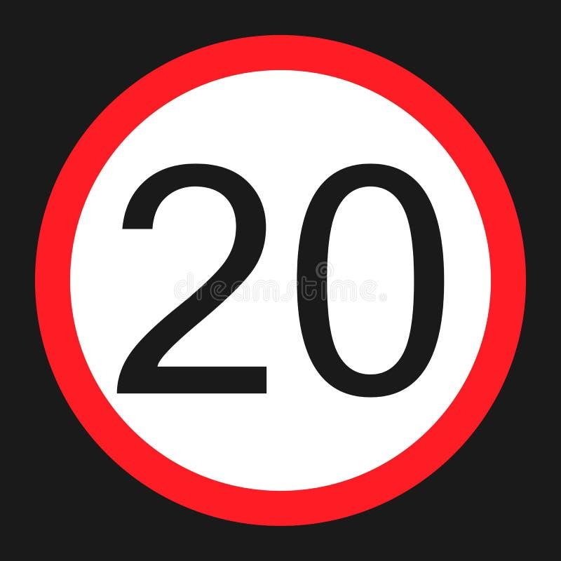 最大速度极限20标志平的象 库存例证