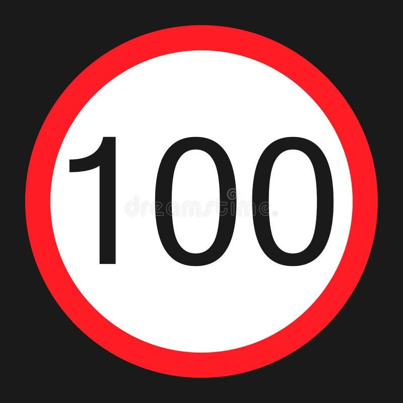 最大速度极限100标志平的象 皇族释放例证
