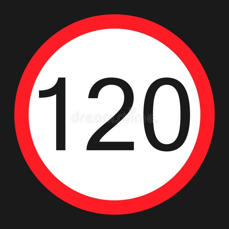 最大速度极限120标志平的象 库存例证