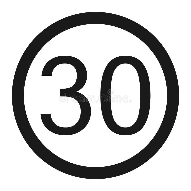 最大速度极限30标志线象 库存例证