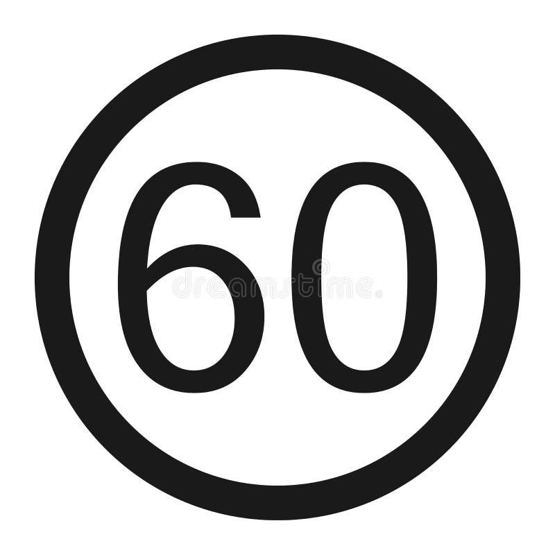 最大速度极限60标志线象 向量例证