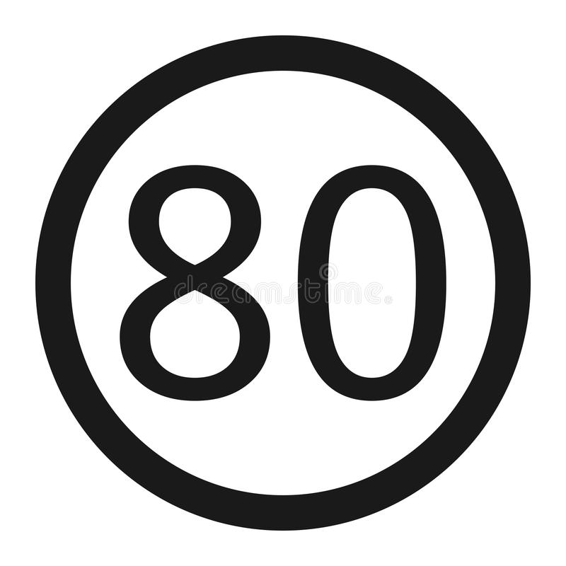 最大速度极限80标志线象 库存例证