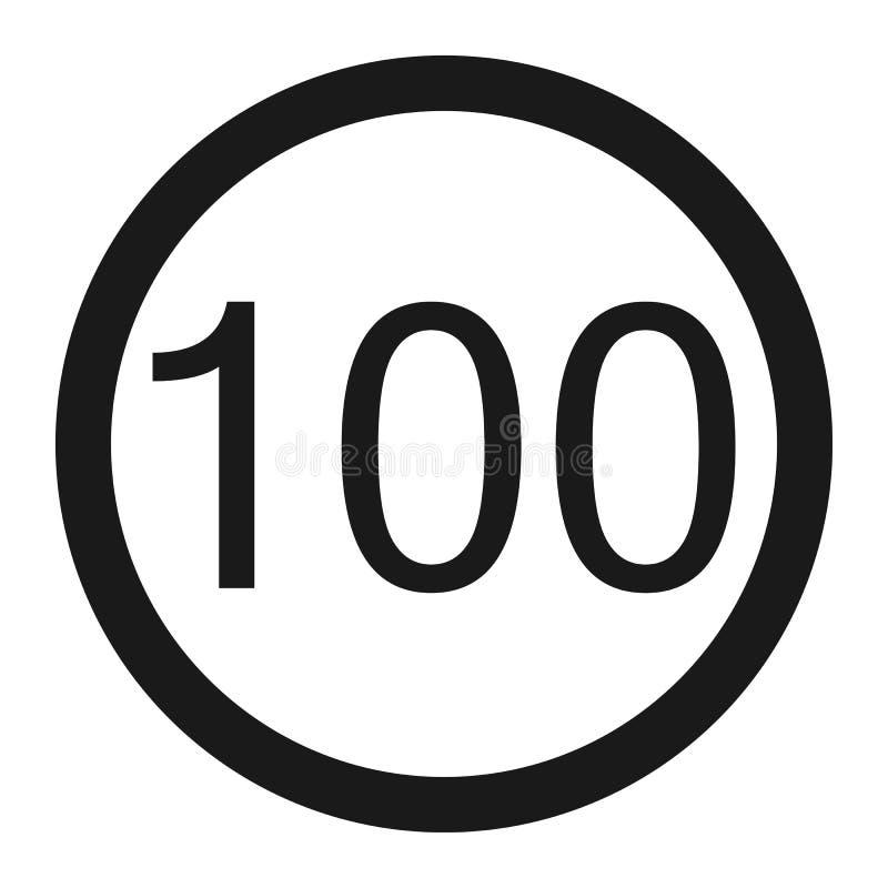 最大速度极限100标志线象 向量例证
