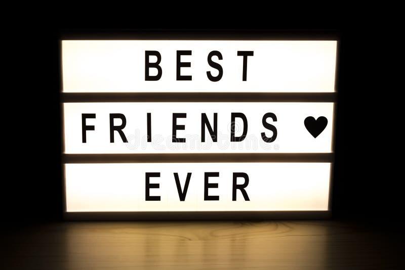 最好的朋友灯箱标志板 库存图片