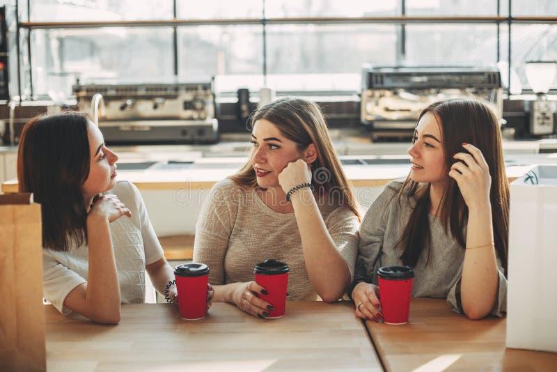 最好的朋友谈坐在咖啡馆 免版税图库摄影