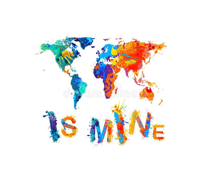 最小值世界 飞溅油漆题字 地图剪影 库存例证