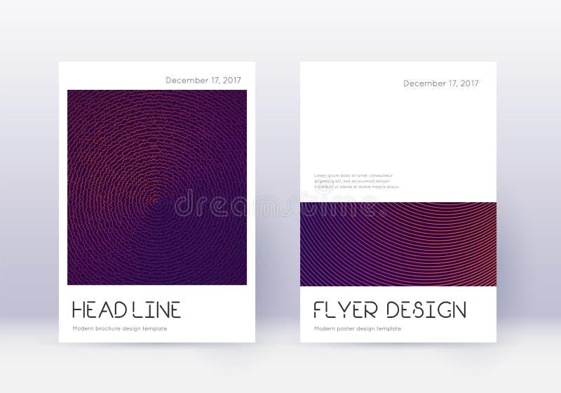 最小封面设计模板集 紫色摘要 库存例证