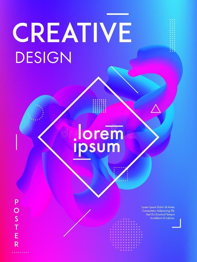 最小的五颜六色的梯度背景盖子 现代海报设计摘要流体塑造构成 皇族释放例证