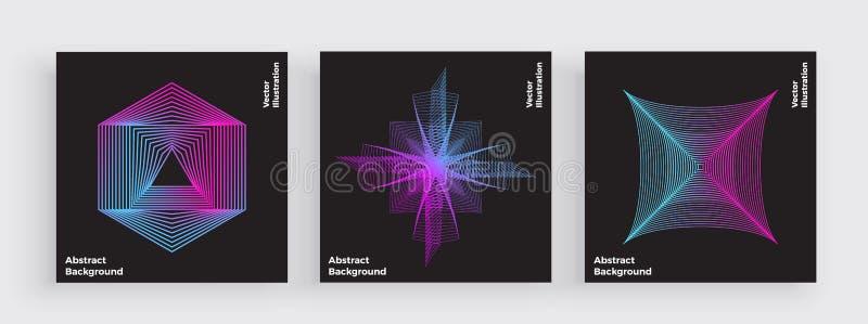 最小的五颜六色的盖子设计,与时髦梯度的现代线 抽象简单的几何形状 霓虹发光,充满活力的颜色 向量例证