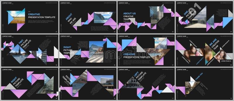 最小的介绍设计,股份单与五颜六色的三角origami纸元素的传染媒介模板 多用途 向量例证