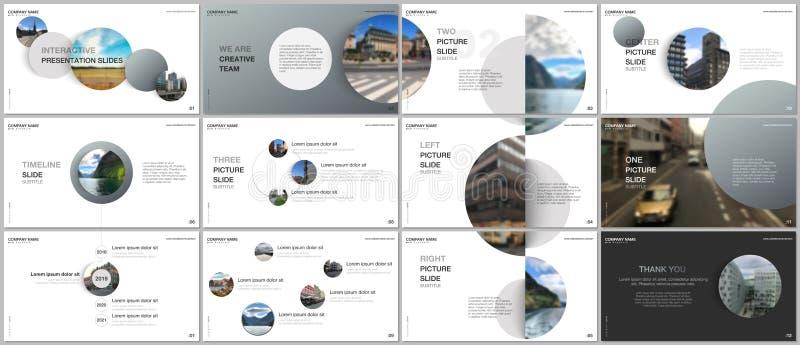 最小的介绍设计,股份单与灰色五颜六色的圈子元素的传染媒介模板在白色背景 库存例证