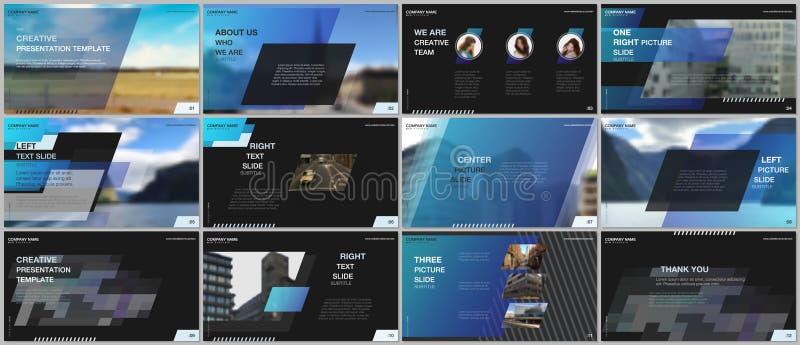 最小的介绍设计,股份单传染媒介模板有五颜六色的梯度几何背景 蓝色设计 皇族释放例证