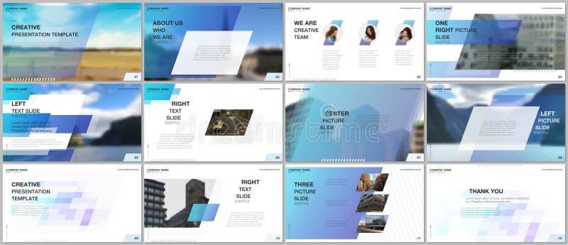 最小的介绍设计,股份单传染媒介模板有五颜六色的梯度几何背景 蓝色设计 向量例证