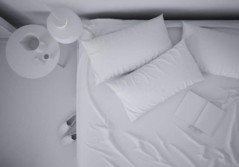 最小的卧室总白色项目有双人床的,当代建筑学室内设计,顶视图 库存例证