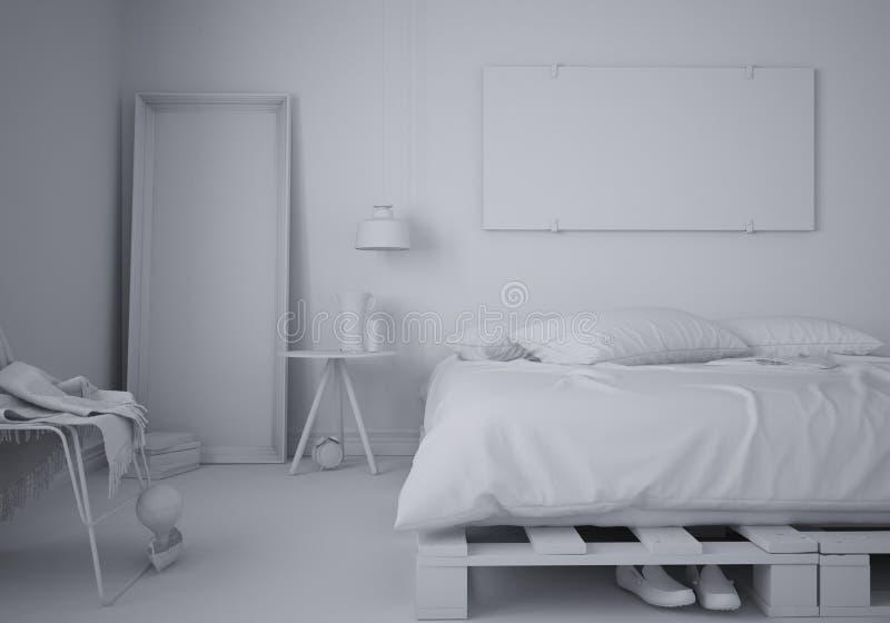 最小的卧室总白色项目有diy板台木床的,当代建筑学内部 皇族释放例证